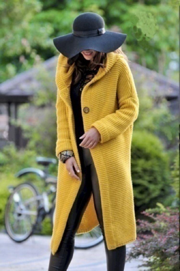 Damen Strickjacke Pullover Mäntel Frühling Winter Einreiher mit Kapuze lange Mäntel Pullover Damen lösen Fest Farbe gestrickte Oberseitenoberbekleidungt