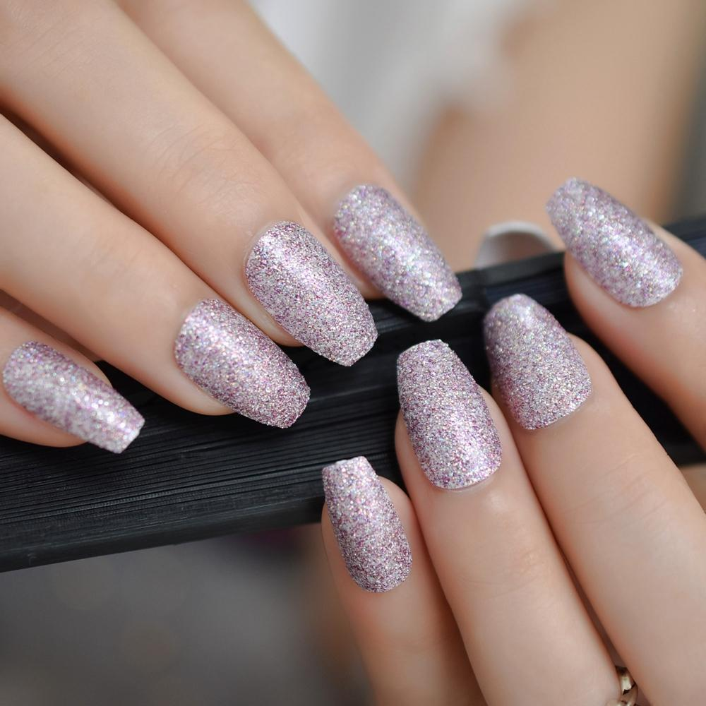Purple Pink Glitter Coffin False Nails Pre Designs Medium Long Ballerina  Fake Nail Flat Manicure Artificial Nails Tips Plain False Nails False Nails