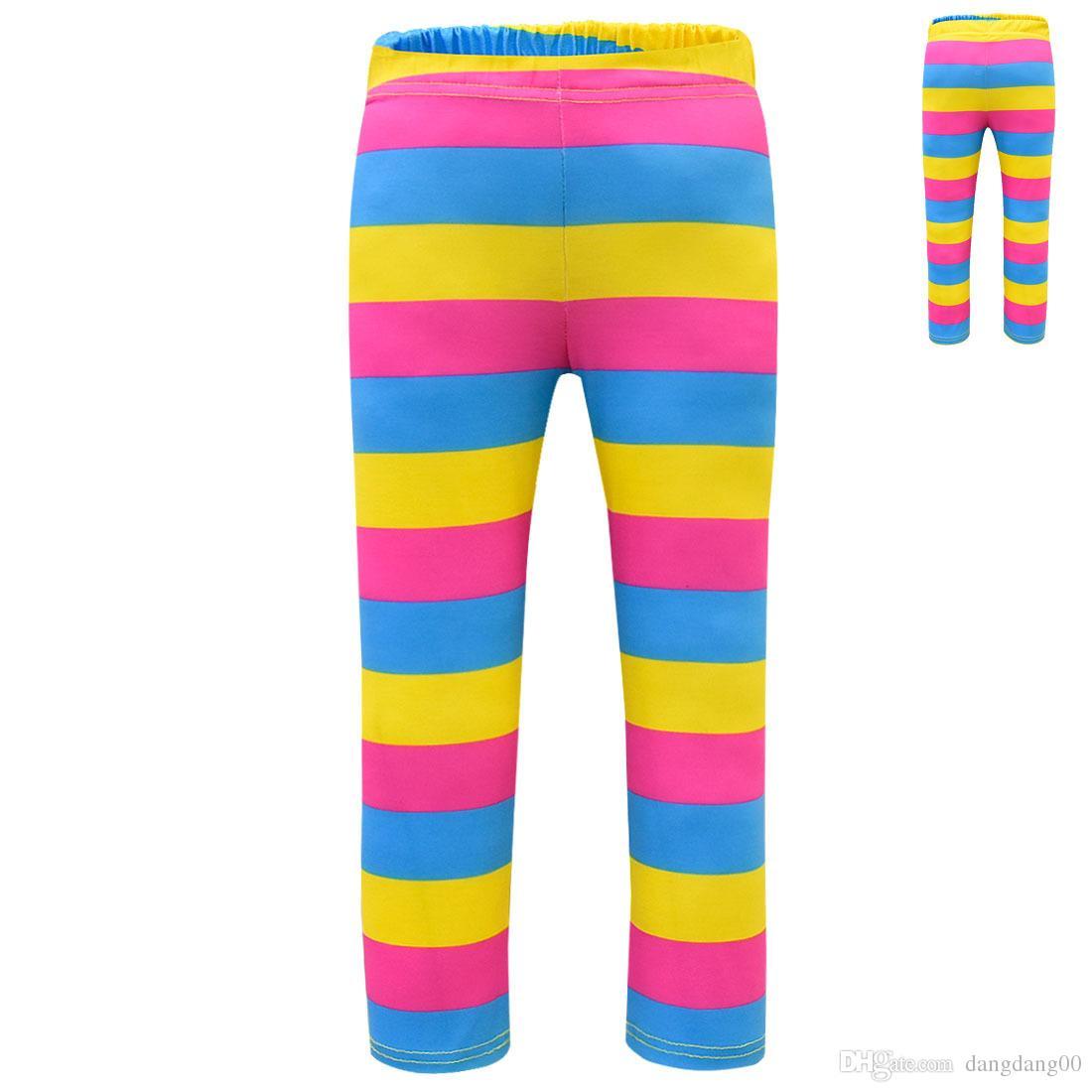 New kids pants beautiful Nancy cos girl rainbow striped leggings