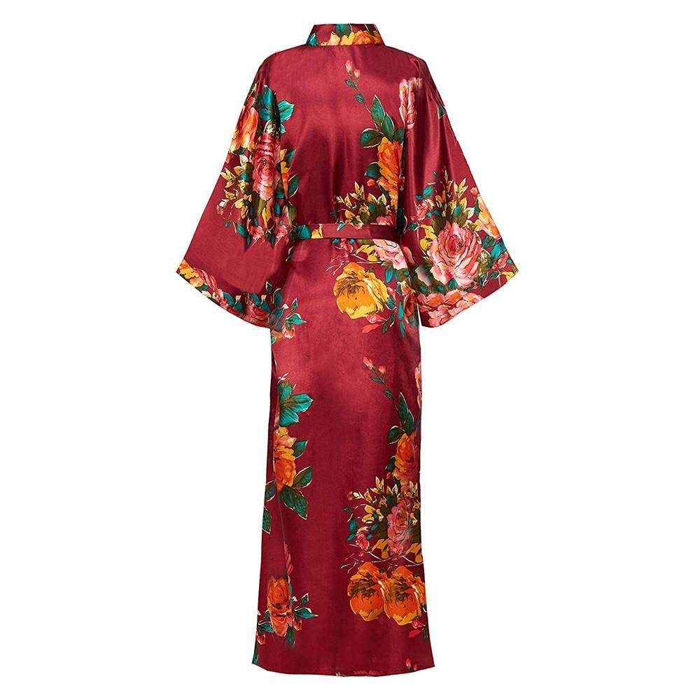 Sexy Casual Lounge Nightdess pour les femmes de nuit Femme en vrac Imprimer Fleur Kimono Peignoir Bleu Royal Robe longue robe avec ceinture