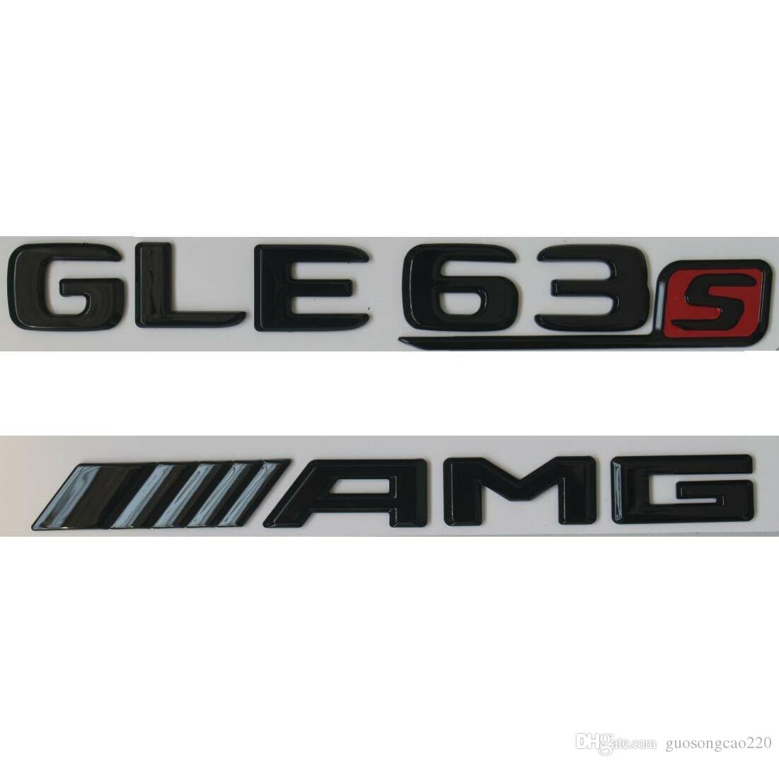 Black Flat S////////AMG Letters Trunk Badge Emblems Emblem for Mercedes Benz S AMG