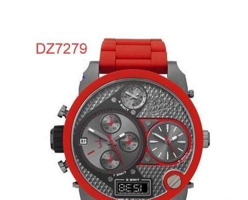 جديد الموضة DZ7277 DZ7278 DZ7279 الكوارتز كرونوغراف للرجال ووتش ساعة اليد سيليكون المطاط حزام رجال ساعة اليد