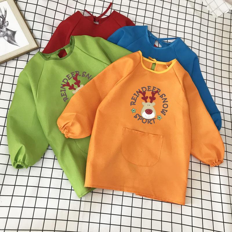Симпатичные непромокаемые детские с длинными рукавами халата мальчиков и девочек малярные одежды анти-обогатительного фартук обычай