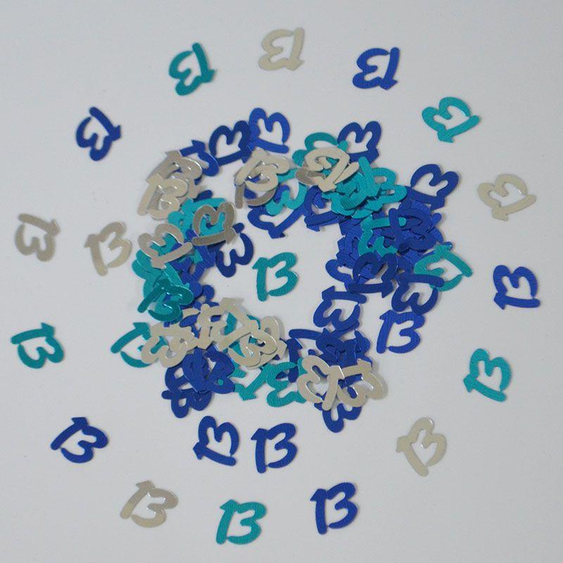 15g de los invitaciones Feliz Cumpleaños dispersión de la tabla Digital número 13 Espolvorear confeti metálicos de las muchachas de las decoraciones de cumpleaños