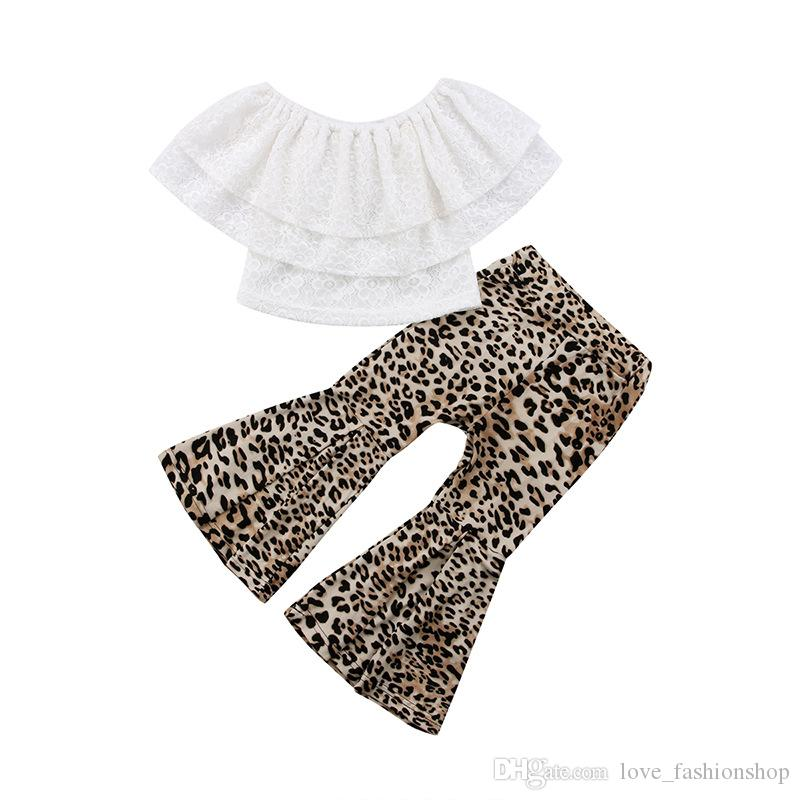 Varejo baby girl outfits 2 pcs um ombro lace top + flare calças de leopardo conjuntos de roupas meninas roupas bebê treino crianças boutique roupas