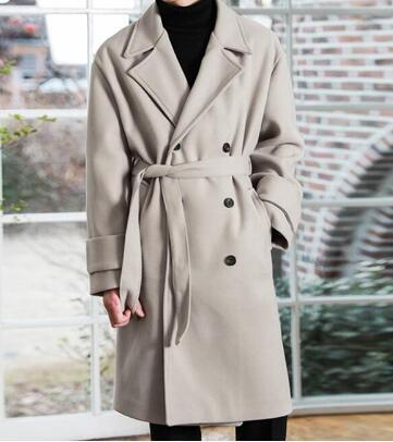 S-6XL 2020 New Men clothing Thicken Korean loose lace woollen coat trench coat double-breasted casual plus size woolen overcoat