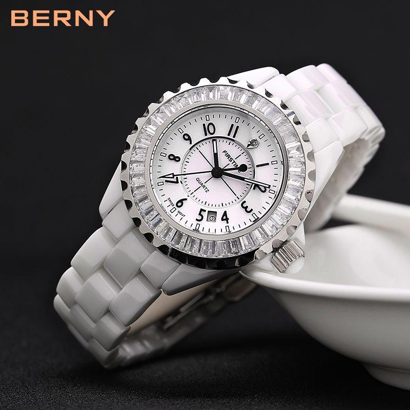 BERNY Branco mulheres cerâmica relógios de luxo à prova de água Japão quartzo relogio feminino melhor presente para o Natal Ano Novo 2316L