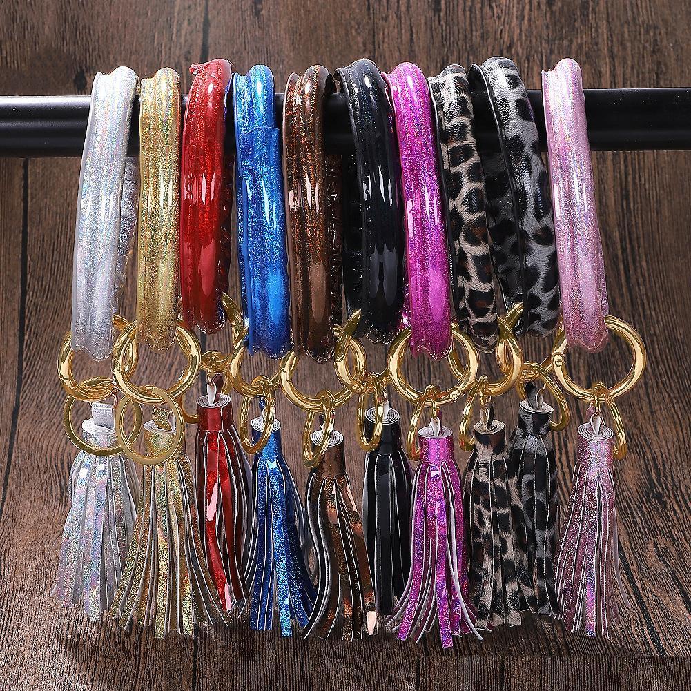 Pulseira de couro chaveiro Bangle Chaveiro Wristlet Chaveiros borla pendente PU pulseiras Círculo O Key Anel Moda Jóias