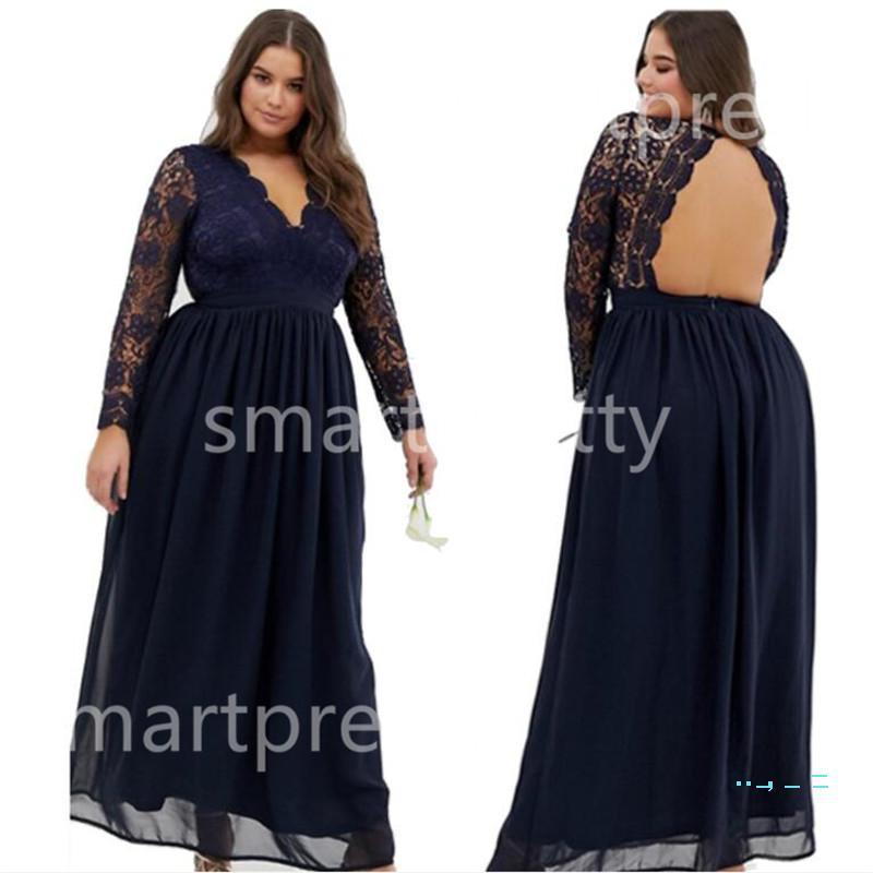 Kadınlar şifon Dantel Elbise Lady Backless Balo Uzun Kollu Düşük V Yaka Kraliyet Mavi Maxi Elbiseler Yaz Partisi Düğün Tam Elbise LY319