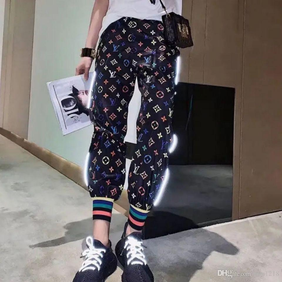 2020 Pants female Korean version of loose-fitting sports casual pants loose-fitting thin color full-length printed reflective halon pants
