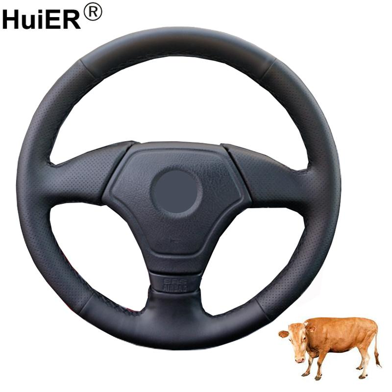 Hand Sewing Car Steering Wheel Cover Wrap Top Cow Leather For E36 1995-2000 E39 1995-1999 E46 1998-2000 E3 1995-1997 Volant