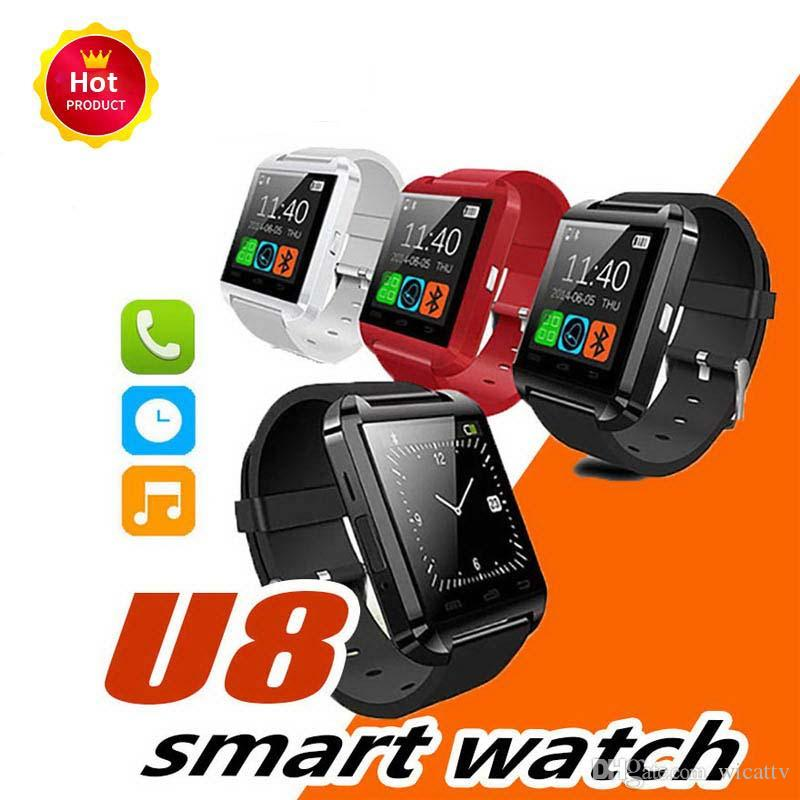 Original Bluetooth U8 Smartwatch Wrist Watches Touch Screen For i7 S8 Android Phone Sleeping Monitor Smart Watch With Retail Package