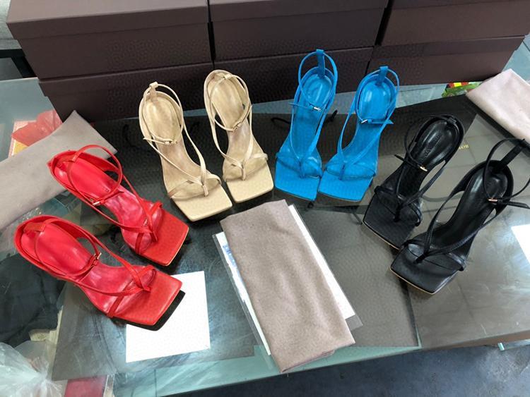 Bout carré des sandales à talons hauts-cuir avec tête carrée toe un talon haut chevrons Sandales de personnalité avec luxe talons hauts