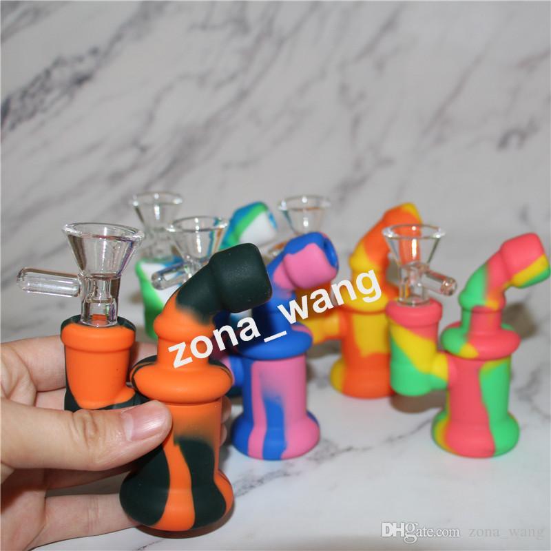Водопроводные трубы силиконовые нефтяные буровые установки Мини Bubbler Bong Cokahs Bown Nectar Collector Dabber Tools Стеклянная ручная труба