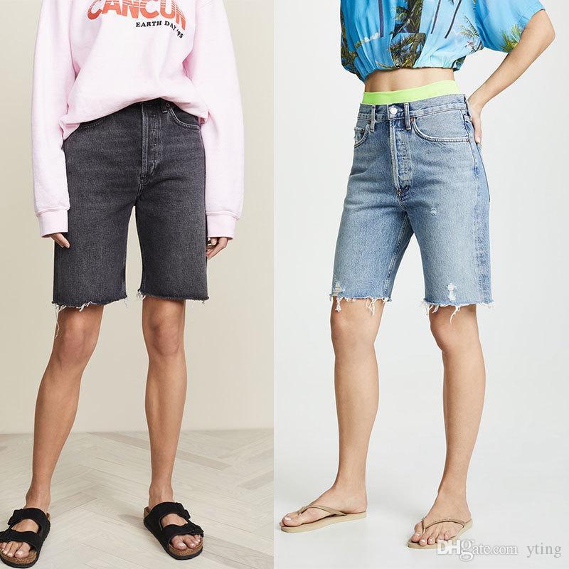 Verano nuevo hasta la rodilla Jeans Europeo y americano edad versátil novio viento guapo cintura alta recto cinco pantalones mujeres