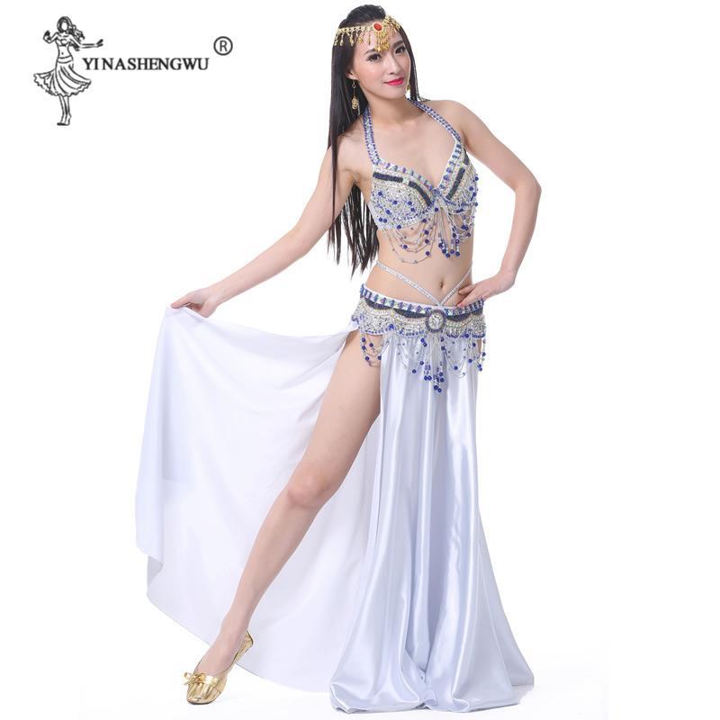 Donne Belly Dance Costume Set più nuovi di ballo di pancia di usura Split Skirt Bra cinghia di cristallo della nappa Dancing Stage Hot