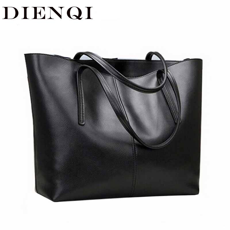 DIENQI High Quality Big Capacity Genuine Leather Shoulder Bags for Women 2020 Luxury Fashion Ladies Handbags Black sac a main MX200327