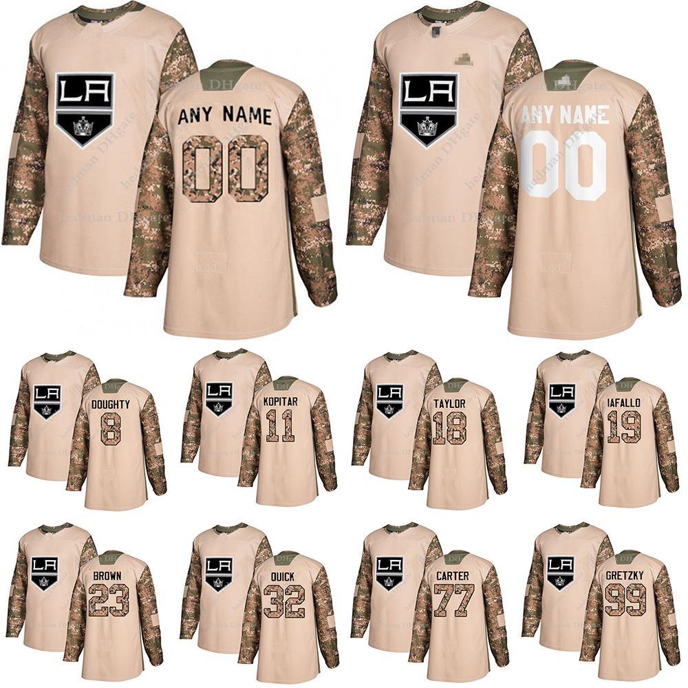 Los Ángeles Reyes Camo Veteranos Práctica Día jerseys 99 Wayne Gretzky 11 Anze Kopitar 8 Doughty encargo cualquier número de cualquier maillot nombre de hockey