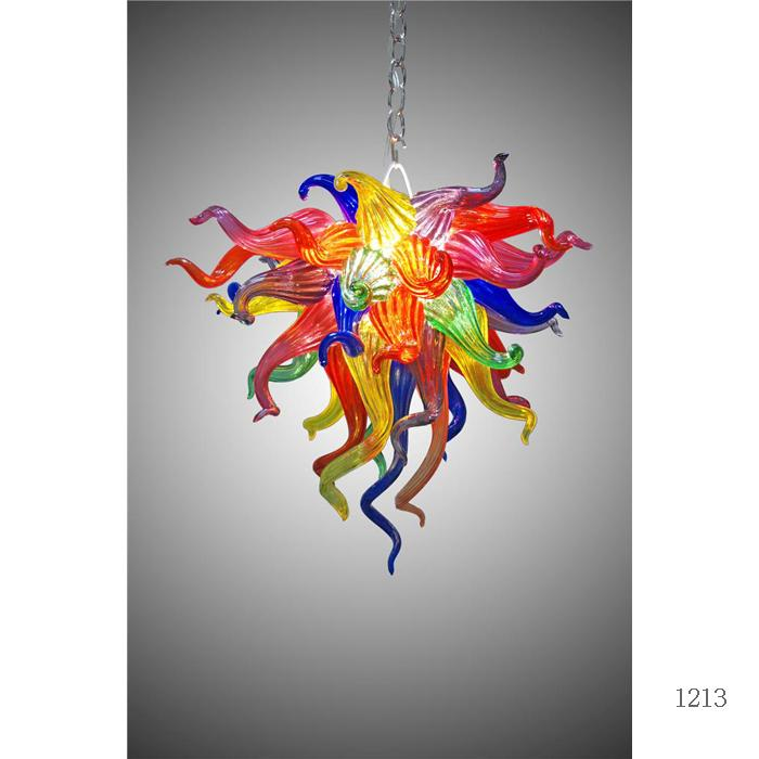 100٪ اليد في مهب زجاج مورانو الثريا الفن الحديث ديكور متعدد الألوان زجاج لمبات LED معلق سلسلة رخيصة الثريا لغرفة المعيشة ديكور
