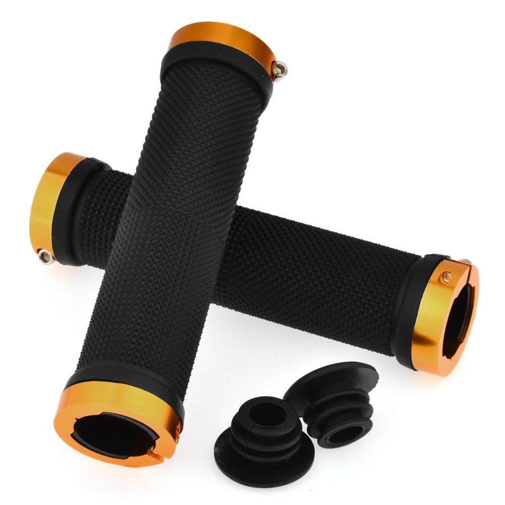 Cycle Zone 1 Pair Double Lock On Locking Nonslip Cycling Handlebar Grip For Mountain Bike Road Bike MTB BMX Bike - Blue/Orange