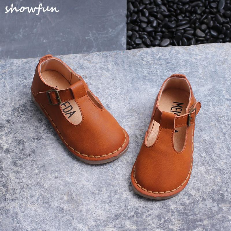 طفل أحذية جلدية KIDS 2020 ربيع جلد فتاة حقيقية T-حزام شقق لينة الراحة الأطفال الحزب أزياء حذاء طفل العلامة التجارية الوردي الرقص