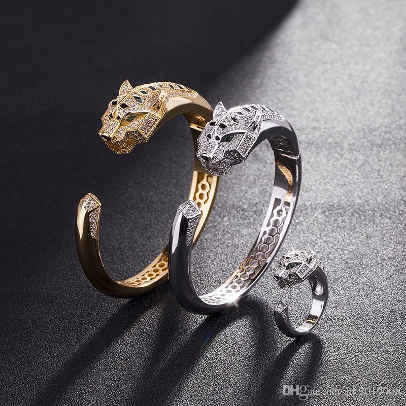 Love Bracelets Women Bangles leopard head Animal Bangle &Ring Jewelry cubic Zircon Love Bracelet copper Jewelry gift