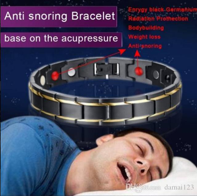Fashion Men Double Strength Magnetic Therapy Men's Health Anti-snoring Magnetic Bracelet Adjustable Treatment Snoring Sleep Better