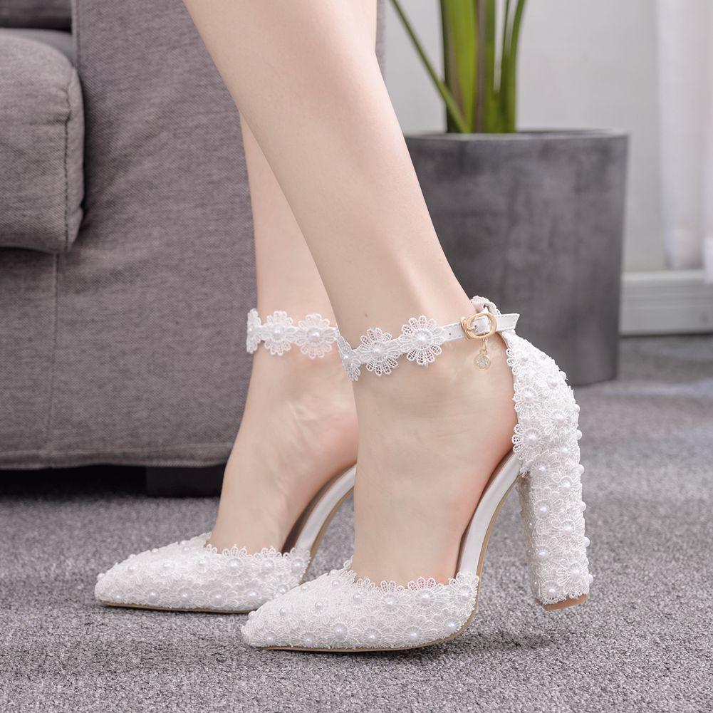 Fashion designer women pearl lace wedding pumps bridal banquet shoes white pink ankle strap single shoes