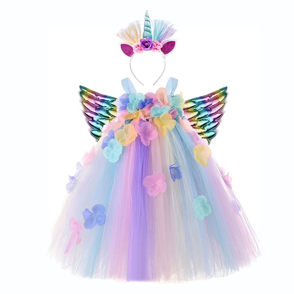 Meninas de flor Unicórnio Roupa para Halloween Costume bebê Kids Birthday Unicorn Vestido Vestido Unicornio princesa Menina natal vestido Tutu