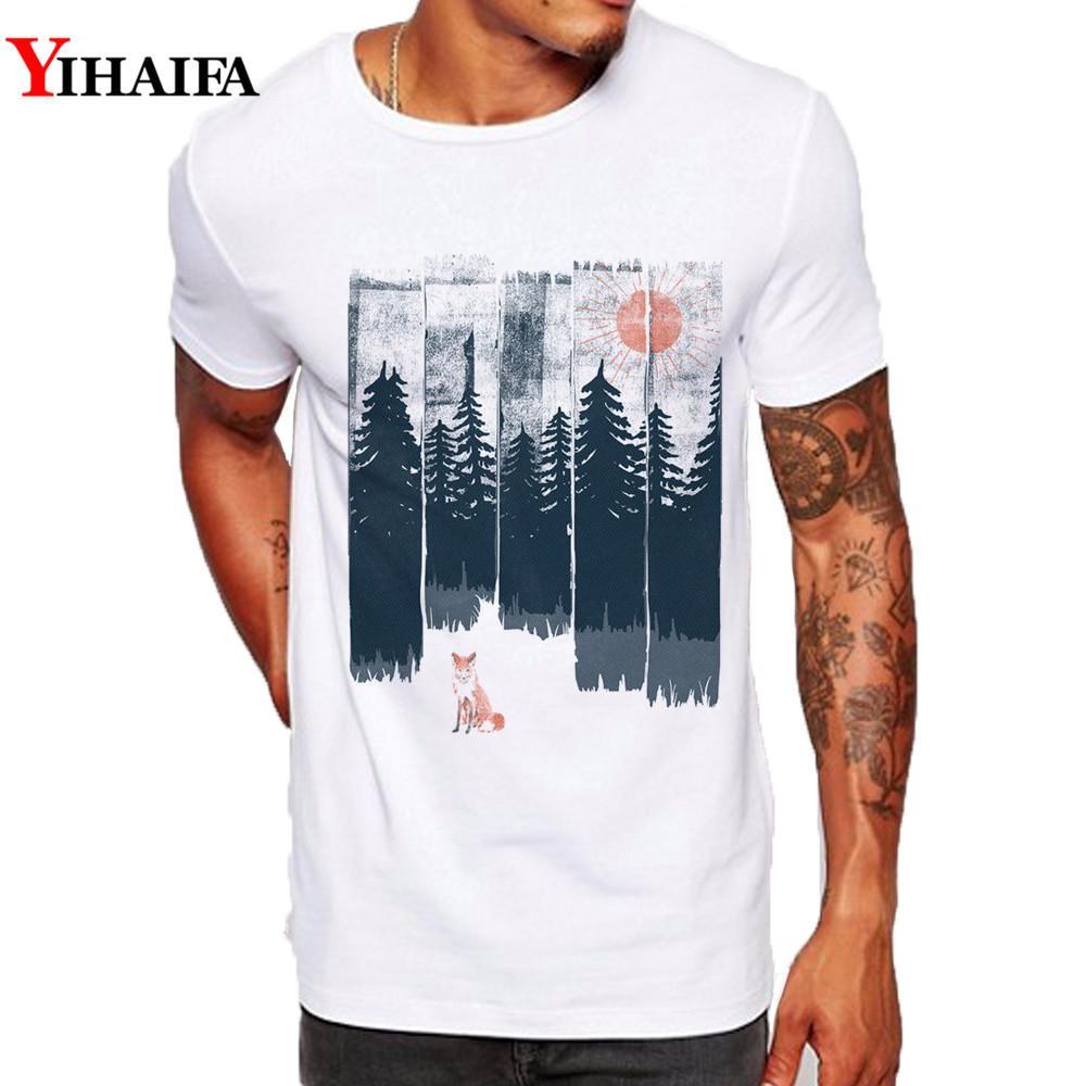 Hipster Erkekler Tişörtlü Slim Fit Grafik Tee Komik Fox Orman Ağacı spor Baskılı Tişörtler Casual Beyaz MX200509 Tops