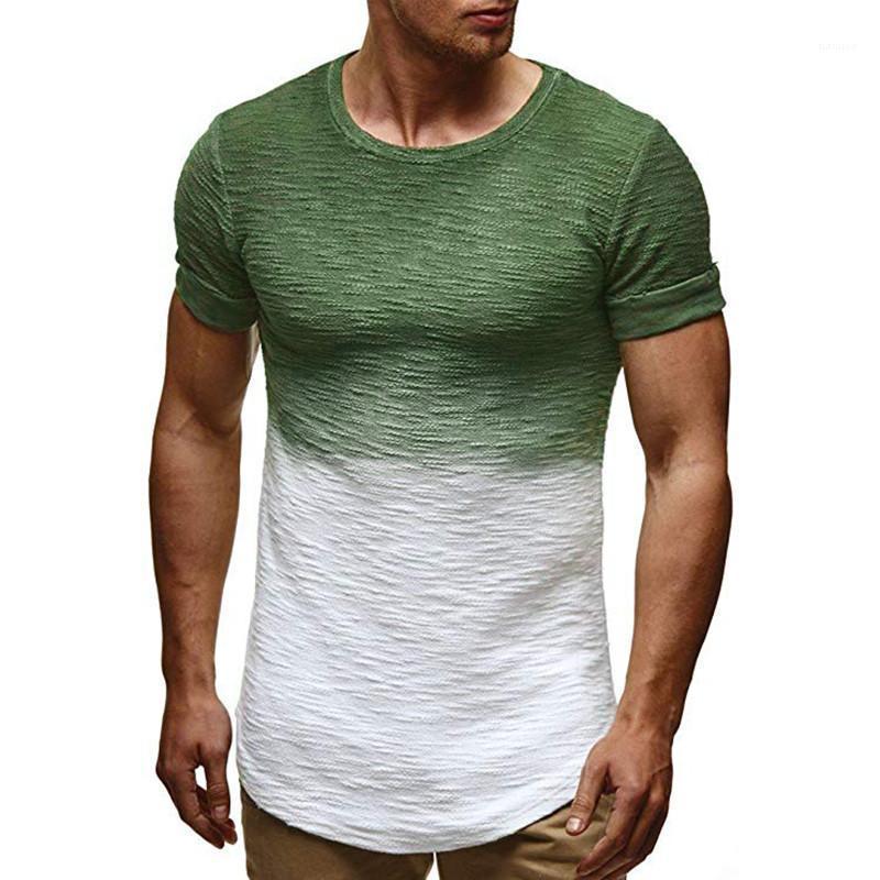 Slim ras du cou à manches courtes hommes Vêtements décontractés Bresthable T-shirts pour hommes d'été Designer Colorblock Homme T-shirt