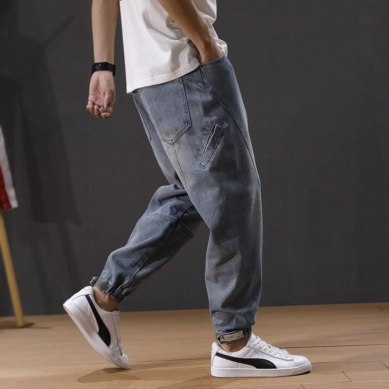 Korean Style Fashion Men Jeans Multi Pockets Loose Fit Denim Cargo Pants Retro Blue Slack Bottom Streetwear Hip Hop Jeans Men
