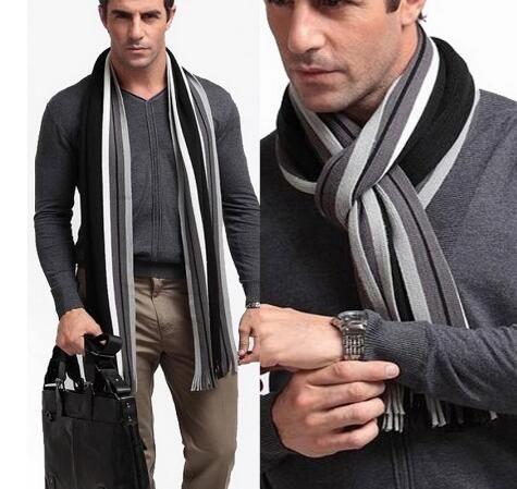 Diseñador bufanda del invierno de los hombres de algodón a rayas bufanda masculina Marca abrigo del mantón de lana de cachemira Bufandas bufanda a rayas con borla GB1391