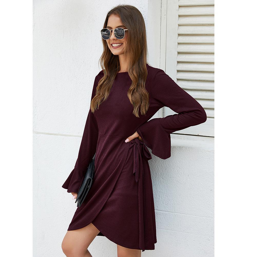 Conçu pour la vitesse transfrontalière vente automne et l'hiver chandail solide robe sexy couleur modèles d'explosion de gros