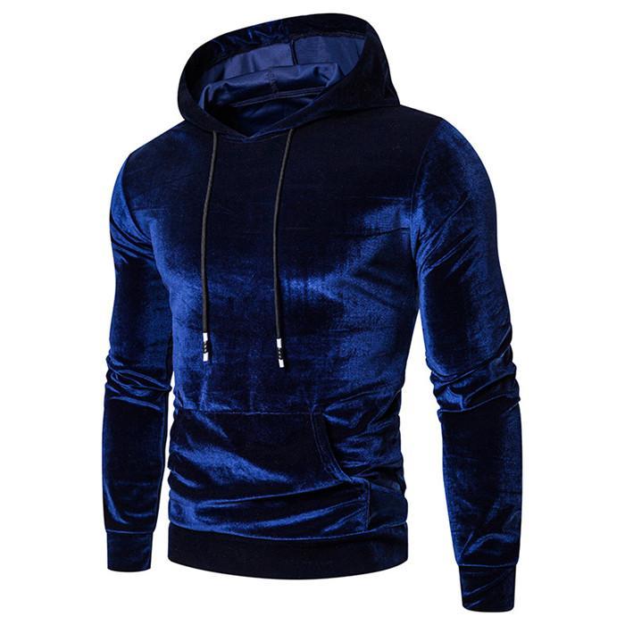 Solid Color Fleece Pullover Herren Langarm-Pullover dicken Winter Hoodys Bunt Men Casual Tops