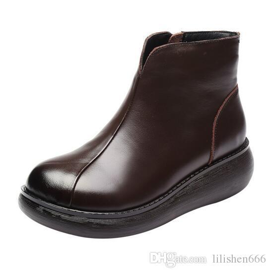 2019 осенью и зимой новые женские кожаные сапоги ретро платформы Мартин сапоги дизайнер роскошные женские туфли