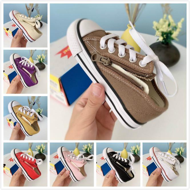 리틀 소녀 스케이트 보드 운동화 여름 캐주얼 신발을 디자인 지퍼 2020 고전 어린이 캔버스 신발 흰색 패션 어린 여자 신발 베이지
