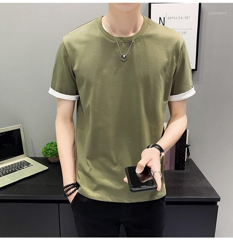 Casual Kasetli Kısa Sleeve T Shirt Moda Erkek Giyim Erkek Mürettebat Boyun Mens Tasarımcısı Tees Tops