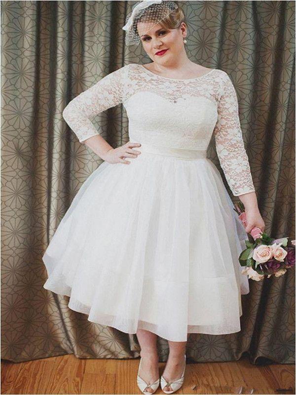 Scoop Neck Long Sleeves Wedding Gowns Short Plus Size Wedding Dresses A Line Tea length Kneee Length Beach Bridal Dress With Satin Belt