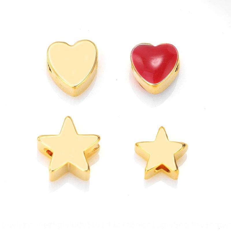 Q8VlJ amor de metal beadsBeadsbeaded pulsera material de Di brillantes perlas en forma de corazón de oro accesorios de partición accesorios de metal bricolaje je e6Teb