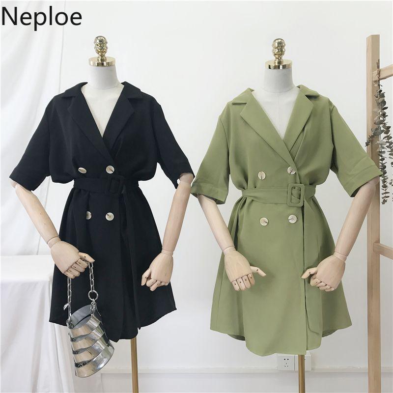 Neploe Katı Kadın Gömlek Yaz 2019 V Yaka Tek Göğüslü Bluz Kore Sashes Bayanlar 44409 SH190803 Tops