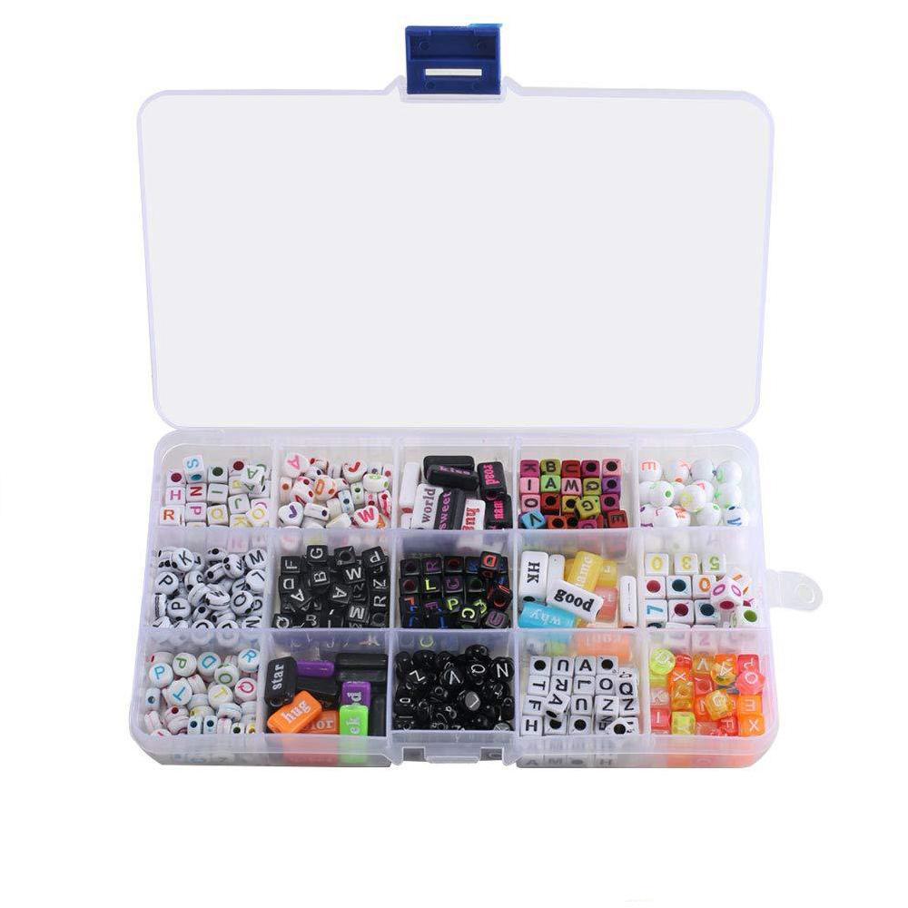 팔찌 목걸이 어린이 교육 장난감 키 체인 키즈 보석 N69Y을 만드는 보석 DIY 다채로운 아크릴 알파벳 문자 큐브 비즈