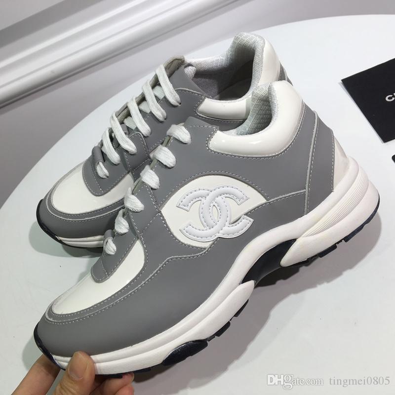 chanel 2019 Moda Unisex beyaz ayakkabılar en kaliteli lüks Kalın rahat ayakkabı Baskılı çizgili Nefes Çift Bayan Erkek ayakkabı