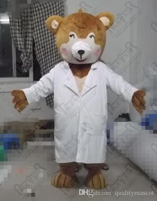 qualidade médico pelúcia trajes da mascote urso dos desenhos animados animais trajes hurse brwon urso COSTUMES Estrela Polar MASCOTE