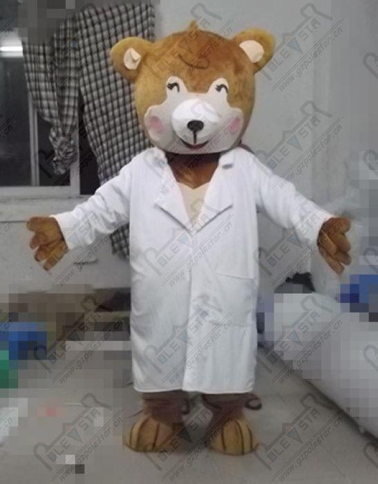 Qualität Arzt Teddybär Maskottchenkostüme Karikatur Tier Hurse Kostüme brwon Bär POLE STAR-Maskottchen-Kostüm