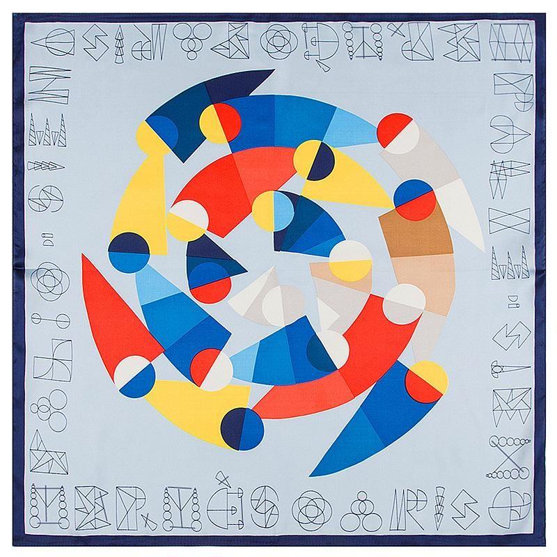 Г-ж Мак Tong шарфы 60см * геометрические буквы профессионального фуляр шелк саржевого шарф небольшая площадь леди Печатного стиль шаль