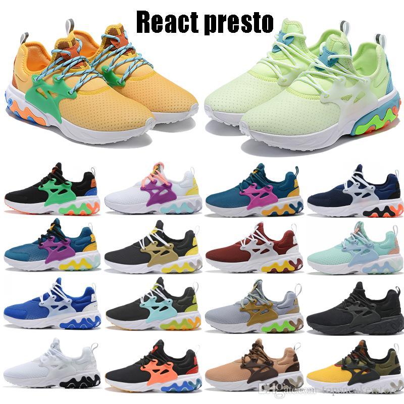 Reaccionar barato Presto 1.0 2.0 para mujer para hombre Zapatos apenas voltios desayuno amarillo oliva Triple Negro Blanco Azul Fucsia estilista zapatillas de deporte corrientes