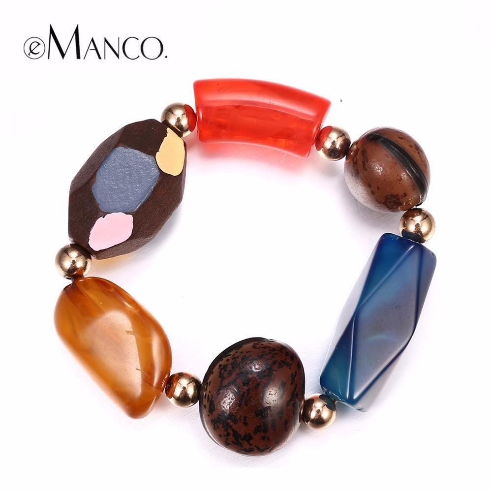 eManco Atacado Contas de Madeira fazendo pulseiras coloridas Semi-preciosas Declaração Pulseira Pedra Fat pulso Perfect Match Y200323