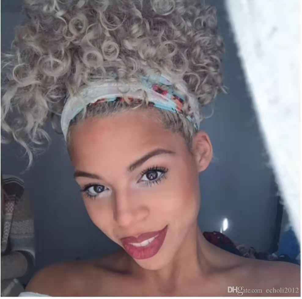 Custom Naturally frizzy curly grey weave ponytail hair extension,Clip in platinum blonde grey fashion women indian hair ponytail 120g
