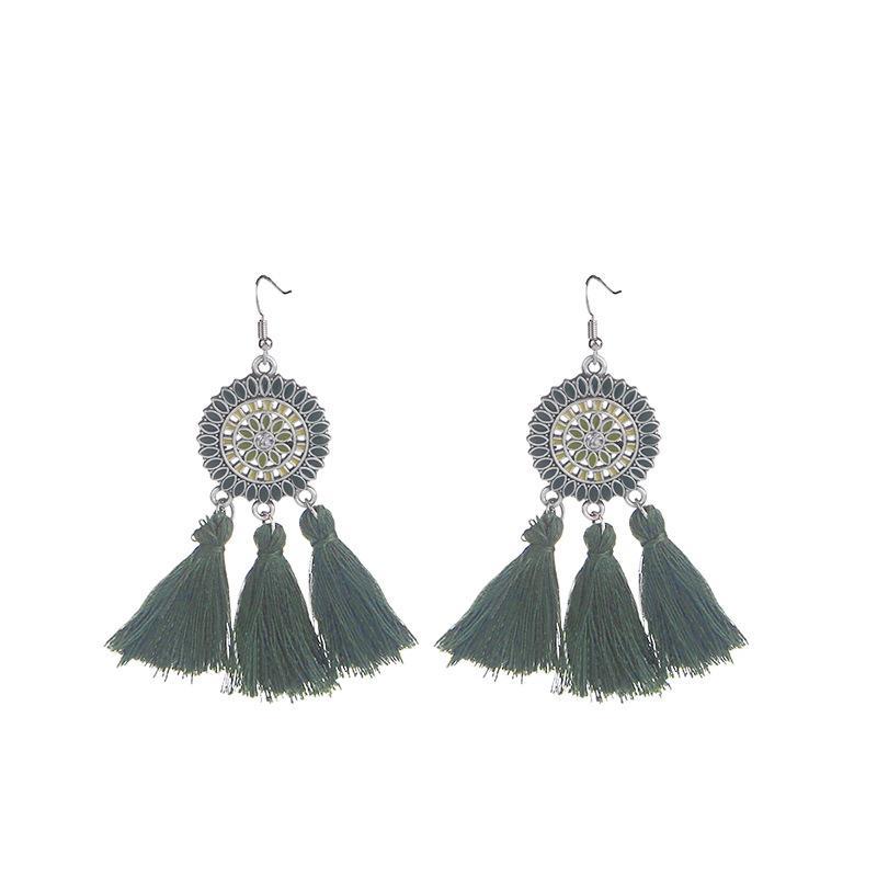 Tassel Hoop Earrings Fan-shaped Drop Earrings Dangle Eardrop for Women Girls Party Bohemia Dress Accessory